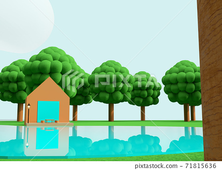 Clay animation background-like world: outdoor scene 71815636