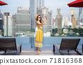 Asian lady enjoy selfie in swimming pool  71816368