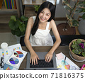 Asian girl typing data to her computer notebook for prepare her report 71816375