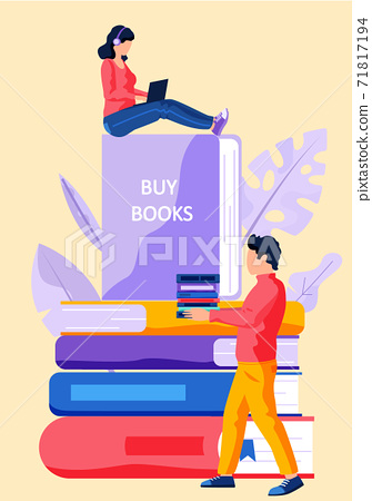 Online bookstore, online learning, digital library, e-reading concept vector flat illustration 71817194
