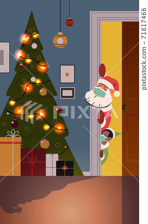 santa claus with elf peeking out from behind door living room with decorated fir tree new year christmas holidays 71817466