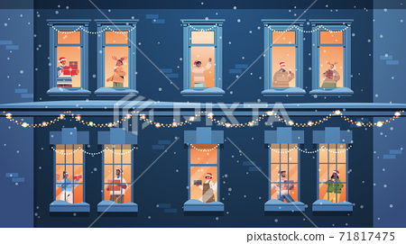 people in santa hats holding gifts mix race neighbors standing in window frames new year christmas holidays 71817475