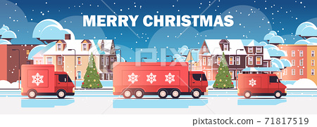 lorry trucks delivering gifts merry christmas happy new year winter holidays celebration express delivery service 71817519