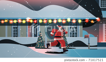 santa claus in mask running with sack full of gifts happy new year merry christmas holidays celebration concept 71817521
