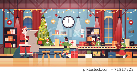 santa claus with elves putting gifts on machinery line conveyor happy new year christmas holidays celebration 71817525