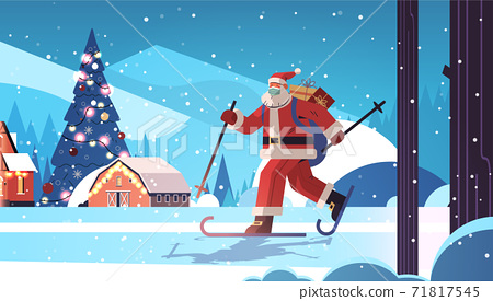 santa claus in mask skiing with gift boxes happy new year merry christmas holidays celebration concept 71817545