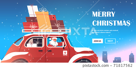 santa claus delivering gifts on red car merry christmas happy new year holidays celebration concept 71817562