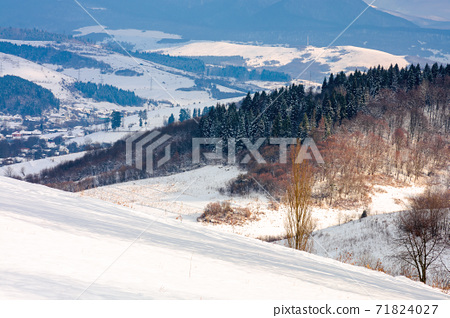 rural landscape in wintertime. trees on the snow covered hill. beautiful scenery of carpathian mountains. village in the distant valley. wonderful frosty and sunny weather, clouds on the sky 71824027