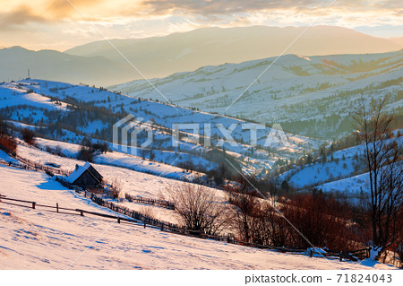 winter rural landscape at sunrise. trees and fields on snow covered hills. mountain ridge in the distance beneath a bright blue sky with clouds 71824043