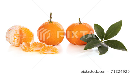 Several tangerines lined up 71824929