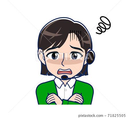 Beautiful woman in a green cardigan 71825505