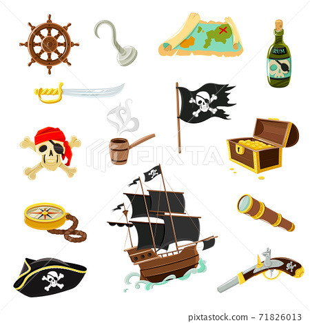 Pirate accessories flat icons set 71826013