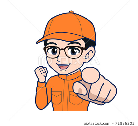 Young man in orange work clothes 71826203