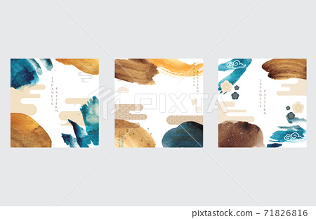 Japanese template with Asian icon background vector. Watercolor brush stroke illustration with wave pattern. 71826816