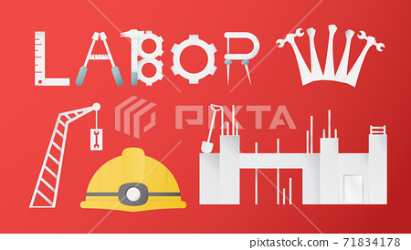 Decoration elements of Labor day for banner, poster, cover, advertisement, website. Vector illustration in paper cut and craft style on red background. 71834178