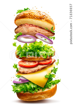 Floating burger isolated 71836937