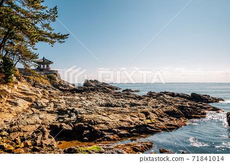 Songjeong beach Jukdo Park Korean traditional pavilion in Busan, Korea 71841014