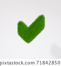 Check mark sign made of grass on a white background. 3d rendering 71842850
