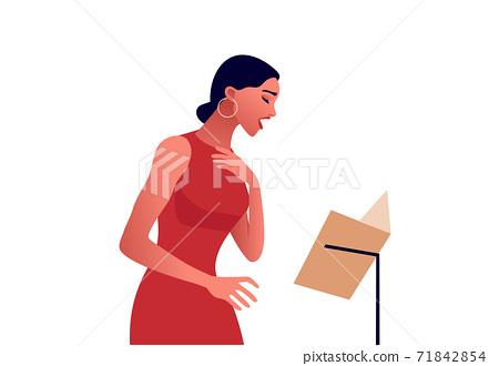 Elegant woman in red dress singing in red dress. 71842854
