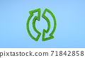 Two arrows of green grass on a blue background. Ecological recycling sign. 3d rendering 71842858