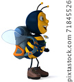 Fun backpacker bee - 3D Illustration 71845526