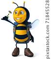 Fun backpacker bee - 3D Illustration 71845528