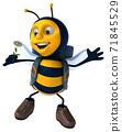 Fun backpacker bee - 3D Illustration 71845529
