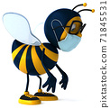3D Illustration of a cartoon bee with a mask 71845531