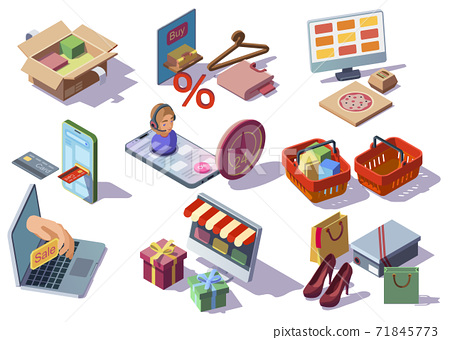 Online shopping isometirc icons 71845773
