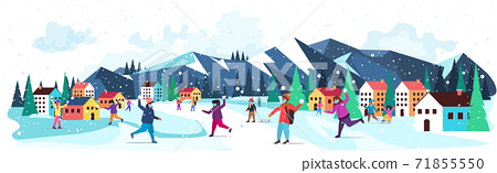 mix race children in masks having winter fun outdoors leisure and activities coronavirus quarantine concept 71855550