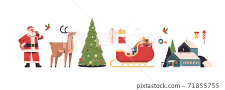 new year elements set merry christmas holidays celebration concept different icons collection 71855755