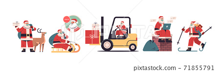 set santa claus delivering gifts merry christmas happy new year holidays celebration concept 71855791