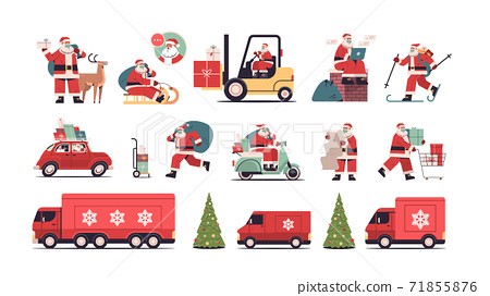 set santa claus delivering gifts merry christmas happy new year holidays celebration concept 71855876