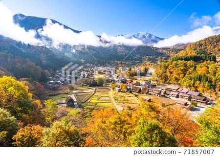 《Gifu Prefecture》 Autumn Shirakawa-go, autumn leaves gassho-zukuri village 71857007