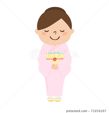 일본식 여성의 일러스트. 분홍색 옷을 입은 정숙 한 여자. 71858267