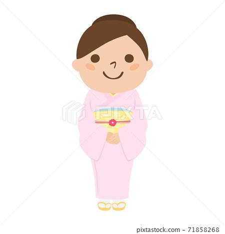 일본식 여성의 일러스트. 분홍색 옷을 입은 웃는 여자. 71858268