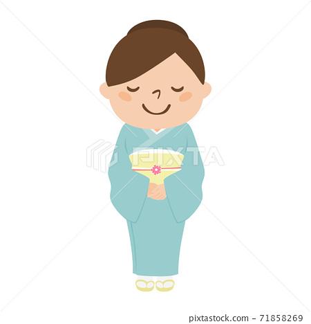 일본식 여성의 일러스트. 녹색 옷을 입은 정숙 한 여자. 71858269