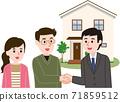 合同訂立:一對夫婦與推銷員握手 71859512