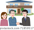Contract conclusion: A couple shaking hands with a salesman 71859517