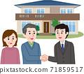 合同訂立:一對夫婦與推銷員握手 71859517