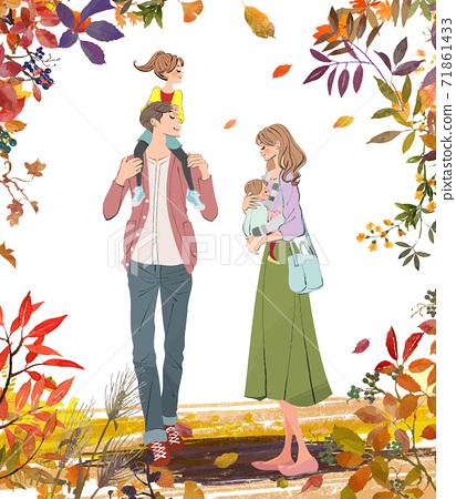 爸爸抱著一個女孩和媽媽在秋天抱著一個嬰兒的插圖 71861433