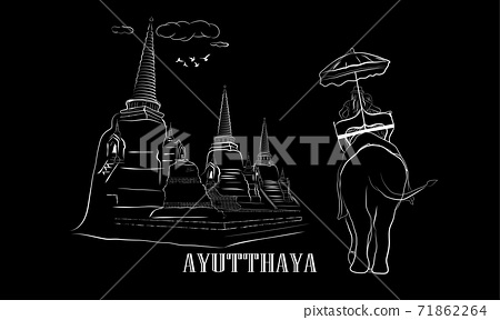 Drawing vector illustration outline old Pagodas and elephants Thailand with text  AYUTTHAYA 71862264