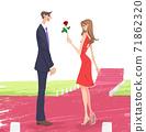 一朵玫瑰給她的情人的女人的插圖 71862320
