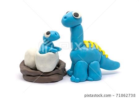 Play dough Brachiosaurus and baby on white background. Handmade clay plasticine 71862738