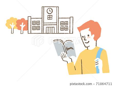 교과서를 읽는 학생 71864711