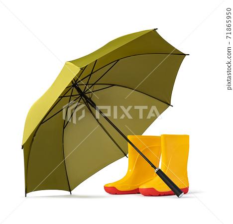 green umbrella and gumboots 71865950