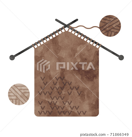 針織用棕色的紗水彩插圖 71866349