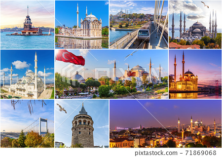 Famous place of Istanbul, Turkey in the collage 71869068