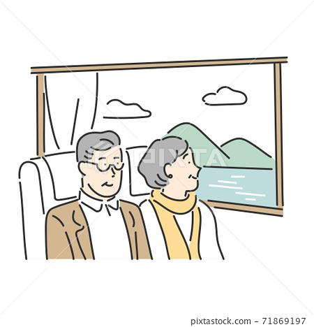看旅行從窗口看的風景的一對資深夫婦的例證材料 71869197
