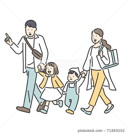 手拉手走一家人的插圖素材 71869202